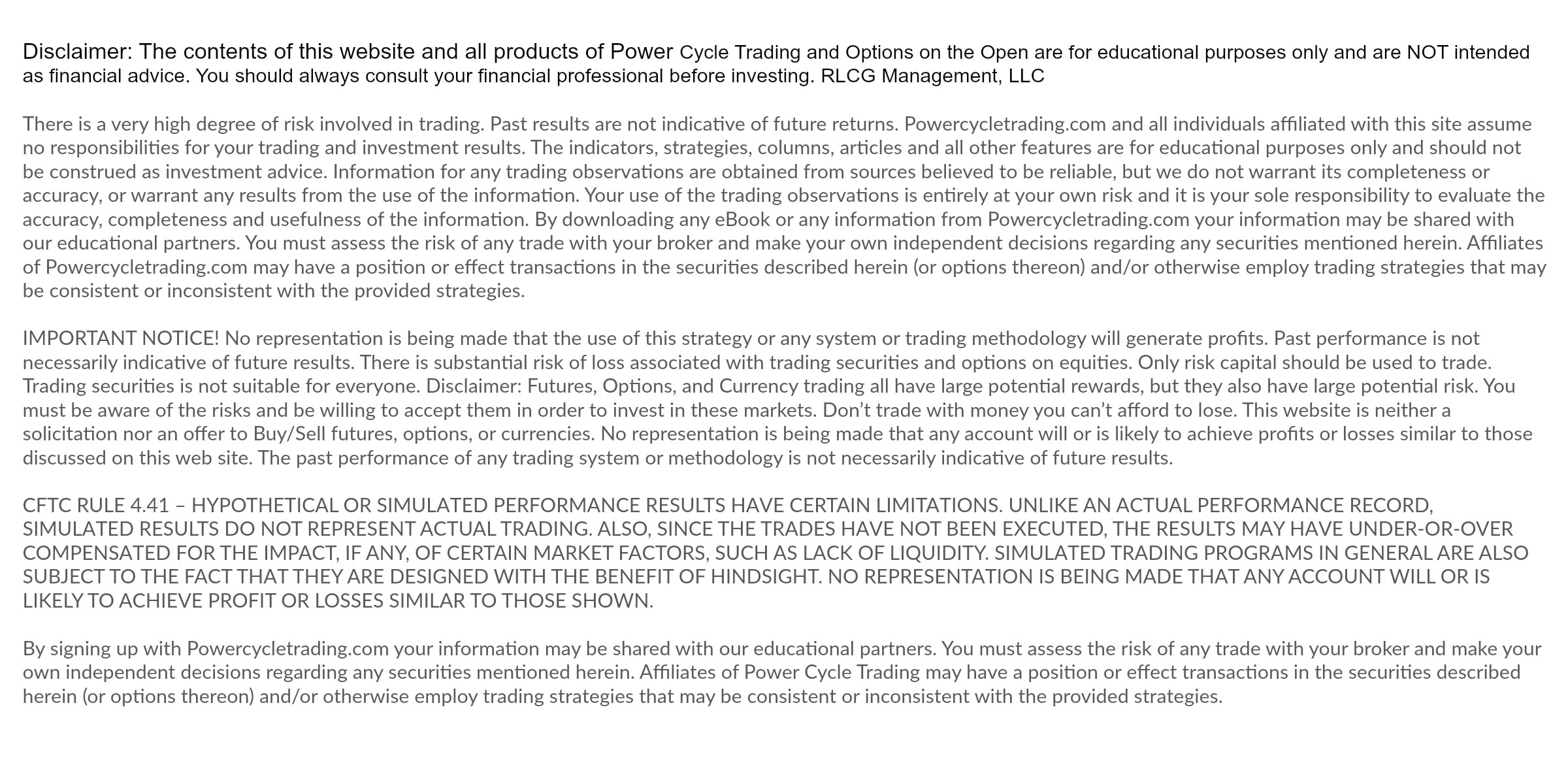 Power Cycle Trading Disclaimer